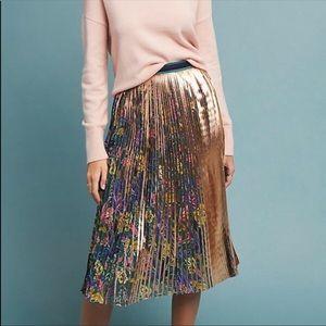 NWT Maeve Printed + Pleated Metallic Skirt